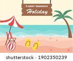 tropical beach with happy...   Shutterstock .eps vector #1902350239