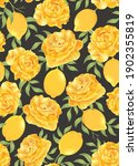 seamless pattern of lemon fruit ... | Shutterstock .eps vector #1902355819
