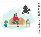 online shopping concept  woman... | Shutterstock .eps vector #1902362923