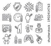 vaccine line icons set on white ... | Shutterstock . vector #1902414763