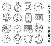 time and clock line icons on... | Shutterstock . vector #1902414859