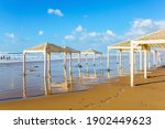 Israel. Beach Canopies On The...