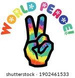 70s groovy hippie world peace...   Shutterstock .eps vector #1902461533
