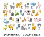 alphabet with cute and funny... | Shutterstock .eps vector #1902465016