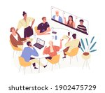 online conference with foreign... | Shutterstock .eps vector #1902475729