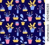 houseplant seamless pattern.... | Shutterstock .eps vector #1902480283