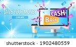 cash back  online shopping...   Shutterstock .eps vector #1902480559