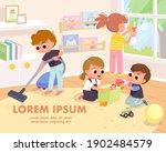 children tidy up playroom doing ... | Shutterstock .eps vector #1902484579