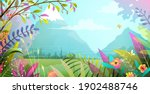 beautiful landscape with trees... | Shutterstock .eps vector #1902488746