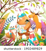 group of animals friends in...   Shutterstock .eps vector #1902489829