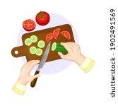 hands preparing vegetable salad ...   Shutterstock .eps vector #1902491569