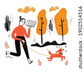 the woman walking dog reading a ... | Shutterstock .eps vector #1902514516