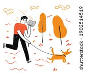 the man walking dog reading a... | Shutterstock .eps vector #1902514519
