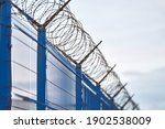 Barbed Wire On Blue Fence Of...
