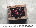 Wooden Box With Sweet Cherry On ...
