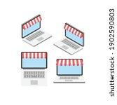 isometric online shopping icon...