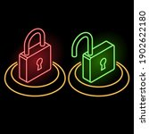 neon set of icons of locks on a ...