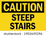 caution steep stairs sign.... | Shutterstock .eps vector #1902635296