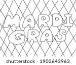 mardi gras   coloring book page ... | Shutterstock .eps vector #1902643963