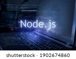 Small photo of Node.js inscription against laptop and code background. Learn node programming language, computer courses, training.