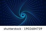 Blue Swirling Geometric Tunnel. ...