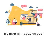 video conference concept in... | Shutterstock .eps vector #1902706903