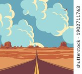 vector landscape with a highway ... | Shutterstock .eps vector #1902711763
