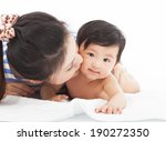happy mother kissing  smiling... | Shutterstock . vector #190272350
