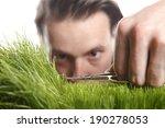 young man cuts english lawn...   Shutterstock . vector #190278053