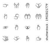 hand gestures line icons set ... | Shutterstock .eps vector #1902821779