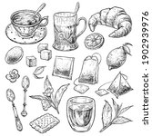 retro style tea set. hand drawn ... | Shutterstock .eps vector #1902939976