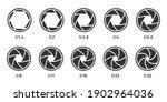 Camera lens aperture size set, black white style. Vector focus camera, optical photography objective, shutter aperture illustration