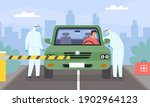 coronavirus drive thru testing. ... | Shutterstock .eps vector #1902964123