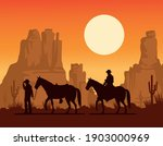 cowboys figures silhouettes in...   Shutterstock .eps vector #1903000969