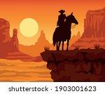 cowboy figure silhouette in... | Shutterstock .eps vector #1903001623