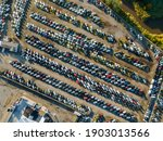 Aerial Top View Of Used Car...