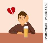 broken heart man drinking beer... | Shutterstock .eps vector #1903015573