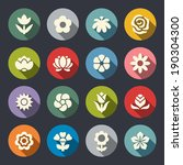 flower icon set | Shutterstock .eps vector #190304300