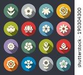 flower icon set | Shutterstock .eps vector #190304300
