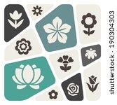 flower icon set | Shutterstock .eps vector #190304303