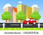car moving through the city | Shutterstock .eps vector #190305926
