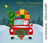 chrismas car with santa claus... | Shutterstock .eps vector #1903110289