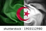 3d illustration flag of Algeria. close up waving flag of Algeria. flag symbols of Algeria.