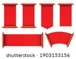 set of red ancient scrolls... | Shutterstock .eps vector #1903153156