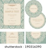 set of wedding invitation cards.... | Shutterstock .eps vector #190316390