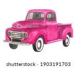 Watercolor Retro Truck....
