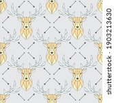 seamless pattern polygonal deer ... | Shutterstock .eps vector #1903213630