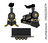 Vector retro train. Black locomotive and freight car with gold details isolated on a white background