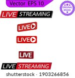 live streaming icons set.  red... | Shutterstock .eps vector #1903266856
