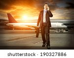 businessman with baggage in... | Shutterstock . vector #190327886